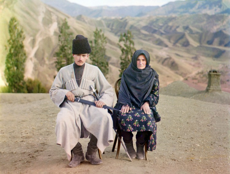 A man and a woman pose in Dagestan
