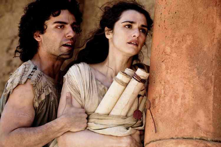 Rachel Weisz as Hypatia of Alexandria and Oscar Isaac as Orestes in Agora (2009)
