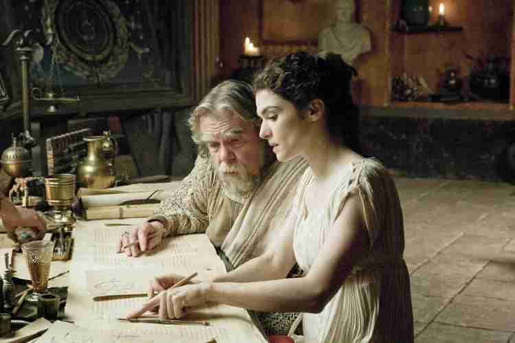 Michael Lonsdale as Theon and Rachel Weisz as Hypatia of Alexandria in Agora (2009)