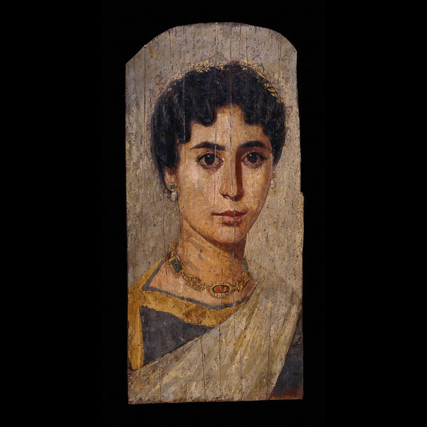 Gilded mummy portrait of a woman, probably from er-Rubayat, Egypt, Roman Period, about AD 160-170. This image is often used to depict Hypatia of Alexandria because it dates from about the same time, comes from the same region and is beautiful - she was supposed to have been beautiful. A more life-like reproduction of this image is in The Mysterious Fayum Portraits: Faces from Ancient Egypt by Euphrosyne Doxiadis, Thames and Hudson, 1995. The original is in the British Museum, London.