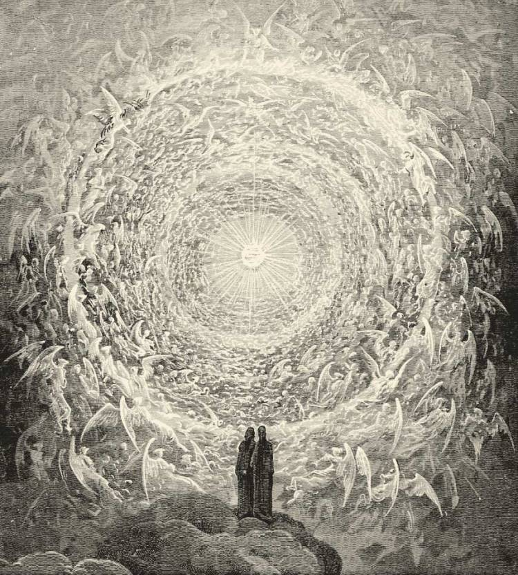 Gustave Doré's 1855 illustration for The Divine Comedy: 'Rosa Celeste: Dante and Beatrice gaze upon the highest Heaven, The Empyrean'.