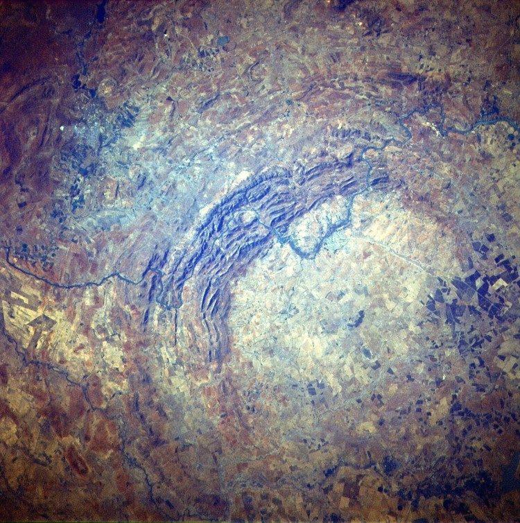 Vredefort crater - remains of the largest verified impact crater on Earth, more than 300km across when it was formed. Free State Province, South Africa