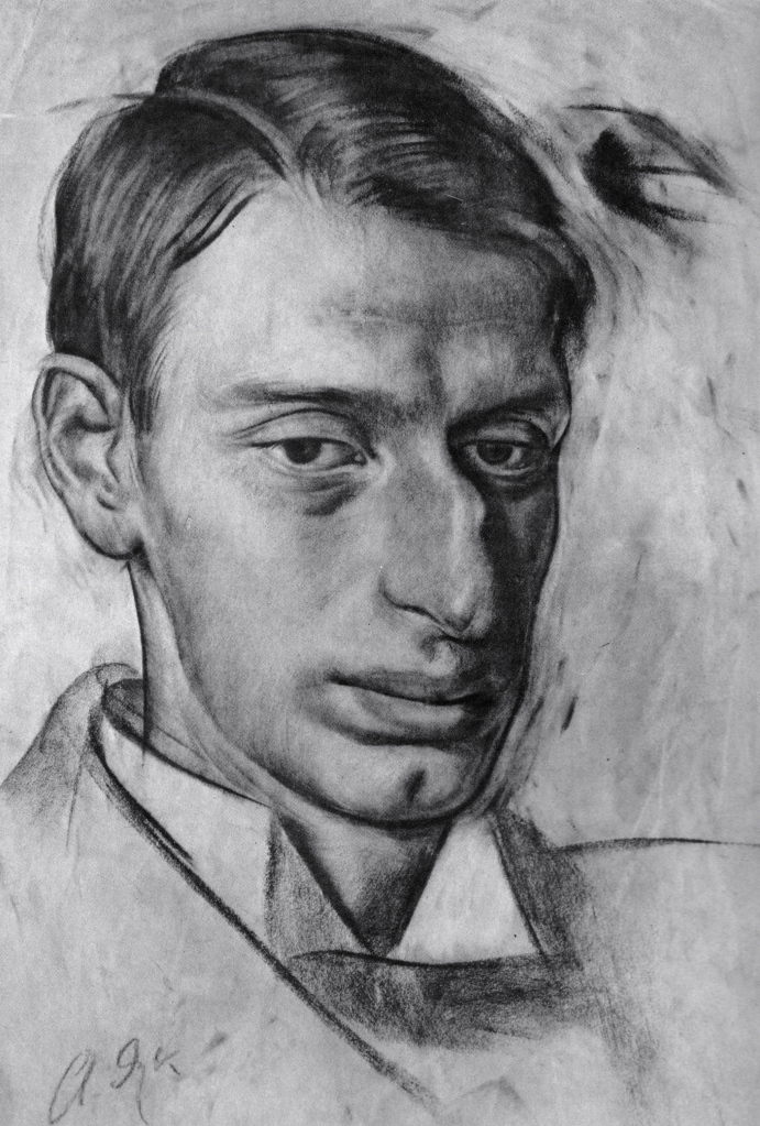 Alexander Yakovlev, Portrait of Nikolai Radlov, 1912. Sanguine on paper. The V. Andreyev Collection