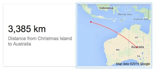 Distance between Christmas Island and Australia