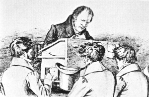 Hegel with his Berlin students, Sketch by Franz Kugler