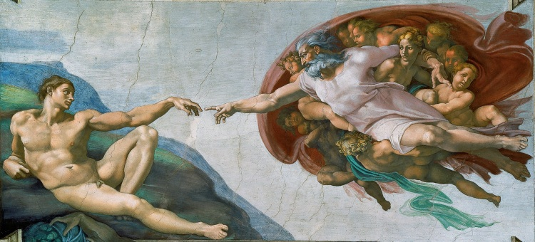 Michelangelo, The Creation of Adam, fresco ('restored'), Sistine Chapel, 1508-1512