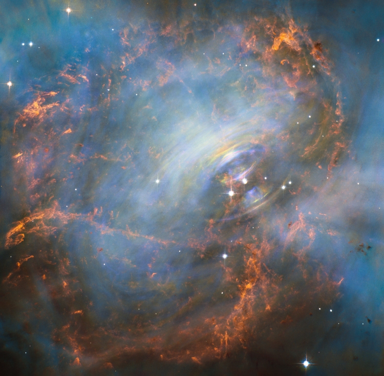 The Swirling Core of the Crab Nebula. While many other images of the famous Crab Nebula nebula have focused on the filaments in the outer part of the nebula, this image shows the very heart of the Crab Nebula including the central neutron star — it is the rightmost of the two bright stars near the centre of this image. The rapid motion of the material nearest to the central star is revealed by the subtle rainbow of colours in this time-lapse image, the rainbow effect being due to the movement of material over the time between one image and another.