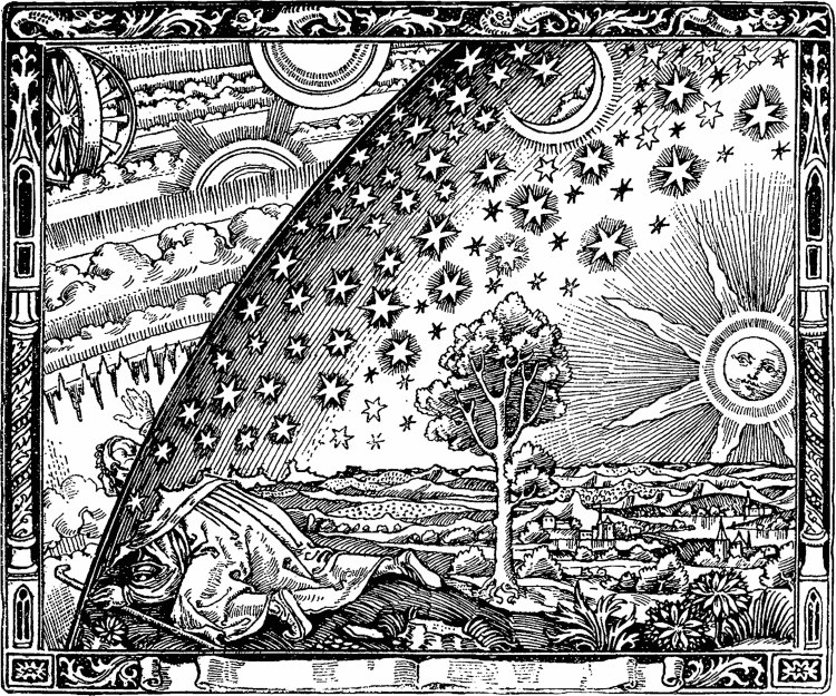 From the NASA page: 'even though this illustration has appeared in numerous places over the past 100 years, the actual artist remains unknown. Furthermore, the work has no accepted name…The illustration, first appearing in a book by Camille Flammarion in 1888, is used frequently to show that humanity's present concepts are susceptible to being supplanted by greater truths.'
