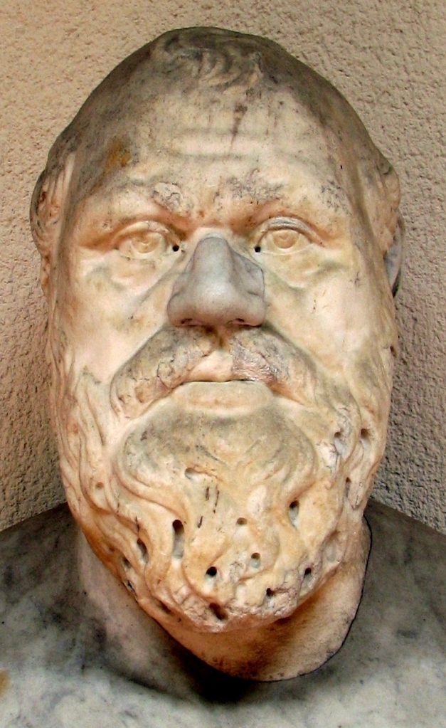 Bust of Socrates. 2nd century Roman copy from a 4th century BCE Greek original. Museo archeologico regionale di Palermo, Italy
