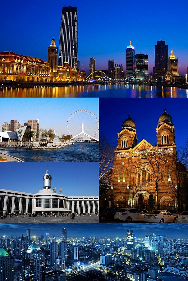 Clockwise from top: Jinwan Square, Tianjin Financial Centre and Hai River, Xikai Church, Panorama of downtown Tianjin, Tianjin Railroad Station, Tianjin Eye